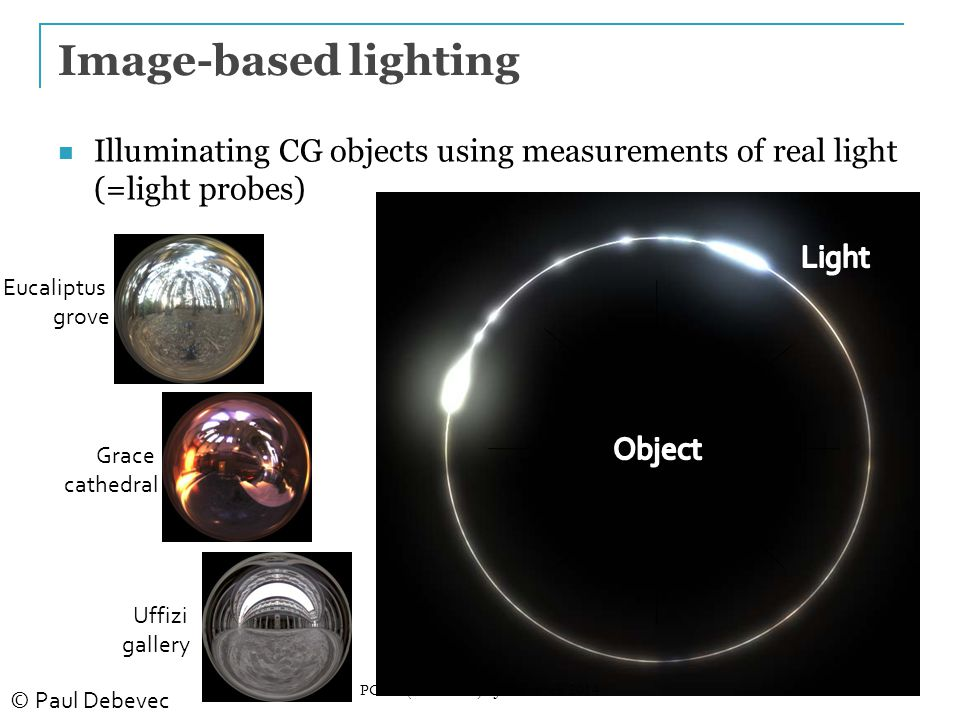 24 Image-based lighting Eucaliptus grove Grace cathedral Uffizi gallery Illuminating CG objects using measurements of real light (=light probes) © Paul Debevec PG III (NPGR010) - J.