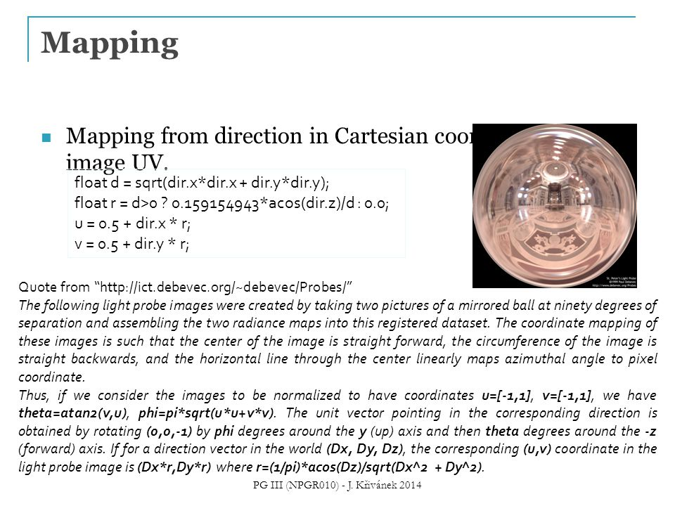 Mapping from direction in Cartesian coordinates to image UV.