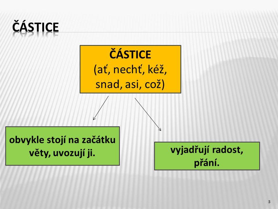 3 ČÁSTICE (ať, nechť, kéž, snad, asi, což) obvykle stojí na začátku věty, uvozují ji.