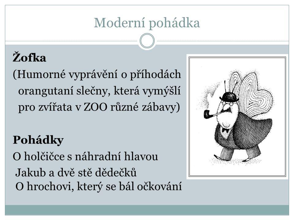 Moderní pohádka Žofka (Humorné vyprávění o příhodách orangutaní slečny, která vymýšlí pro zvířata v ZOO různé zábavy) Pohádky O holčičce s náhradní hlavou Jakub a dvě stě dědečků O hrochovi, který se bál očkování
