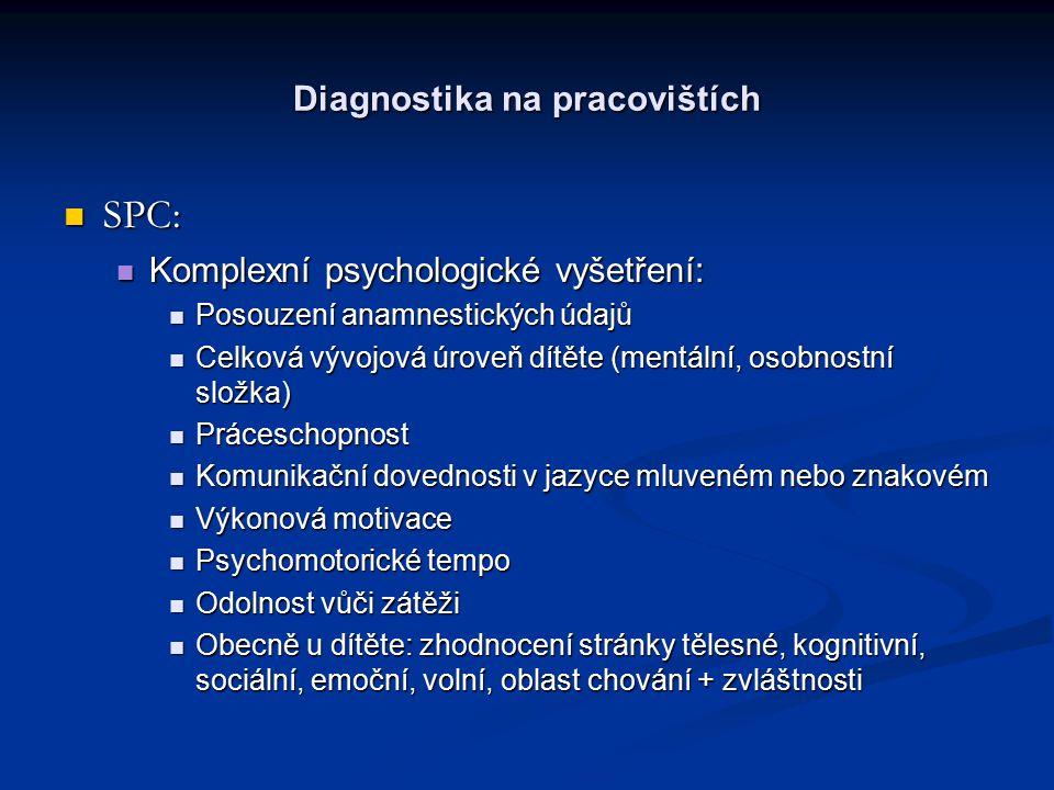 Diagnostika na pracovištích SPC: SPC: Komplexní psychologické vyšetření: Komplexní psychologické vyšetření: Posouzení anamnestických údajů Posouzení anamnestických údajů Celková vývojová úroveň dítěte (mentální, osobnostní složka) Celková vývojová úroveň dítěte (mentální, osobnostní složka) Práceschopnost Práceschopnost Komunikační dovednosti v jazyce mluveném nebo znakovém Komunikační dovednosti v jazyce mluveném nebo znakovém Výkonová motivace Výkonová motivace Psychomotorické tempo Psychomotorické tempo Odolnost vůči zátěži Odolnost vůči zátěži Obecně u dítěte: zhodnocení stránky tělesné, kognitivní, sociální, emoční, volní, oblast chování + zvláštnosti Obecně u dítěte: zhodnocení stránky tělesné, kognitivní, sociální, emoční, volní, oblast chování + zvláštnosti