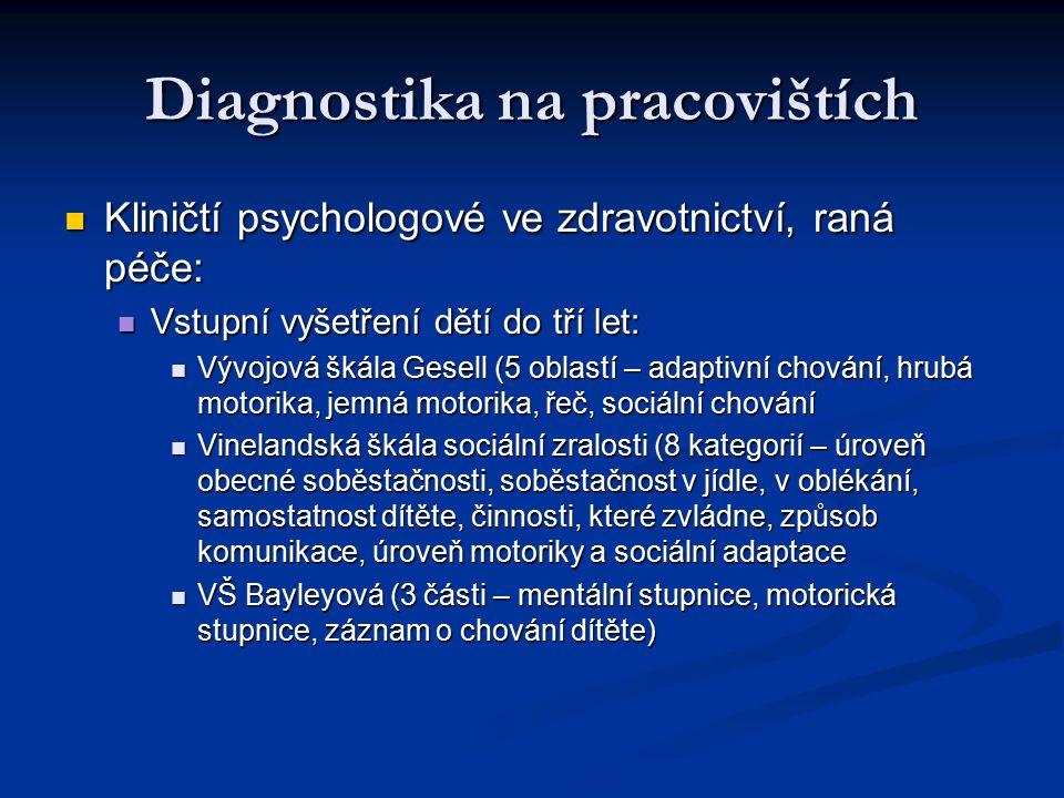 Diagnostika na pracovištích Kliničtí psychologové ve zdravotnictví, raná péče: Kliničtí psychologové ve zdravotnictví, raná péče: Vstupní vyšetření dětí do tří let: Vstupní vyšetření dětí do tří let: Vývojová škála Gesell (5 oblastí – adaptivní chování, hrubá motorika, jemná motorika, řeč, sociální chování Vývojová škála Gesell (5 oblastí – adaptivní chování, hrubá motorika, jemná motorika, řeč, sociální chování Vinelandská škála sociální zralosti (8 kategorií – úroveň obecné soběstačnosti, soběstačnost v jídle, v oblékání, samostatnost dítěte, činnosti, které zvládne, způsob komunikace, úroveň motoriky a sociální adaptace Vinelandská škála sociální zralosti (8 kategorií – úroveň obecné soběstačnosti, soběstačnost v jídle, v oblékání, samostatnost dítěte, činnosti, které zvládne, způsob komunikace, úroveň motoriky a sociální adaptace VŠ Bayleyová (3 části – mentální stupnice, motorická stupnice, záznam o chování dítěte) VŠ Bayleyová (3 části – mentální stupnice, motorická stupnice, záznam o chování dítěte)