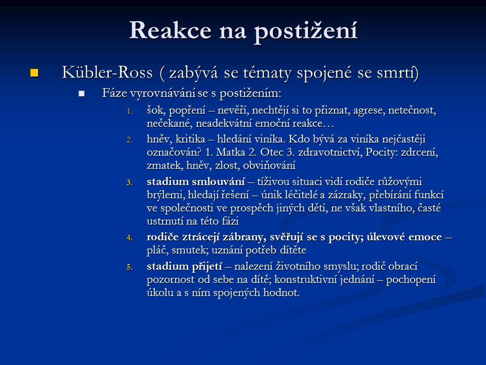 Reakce na postižení Kübler-Ross ( zabývá se tématy spojené se smrtí) Kübler-Ross ( zabývá se tématy spojené se smrtí) Fáze vyrovnávání se s postižením: Fáze vyrovnávání se s postižením: 1.