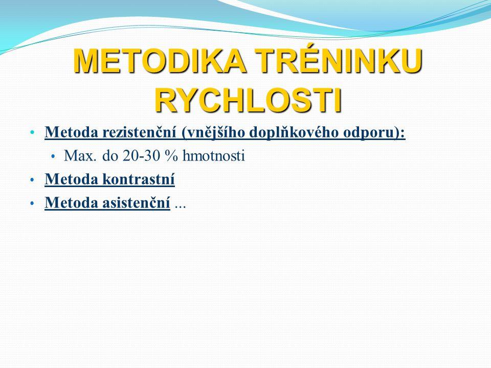 METODIKA TRÉNINKU RYCHLOSTI Metoda rezistenční (vnějšího doplňkového odporu): Max. do 20-30 % hmotnosti Metoda kontrastní Metoda asistenční...