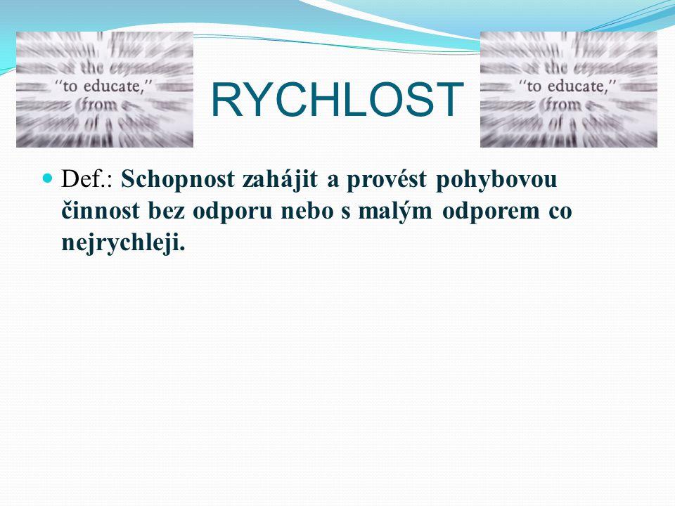 RYCHLOST Def.: Schopnost zahájit a provést pohybovou činnost bez odporu nebo s malým odporem co nejrychleji.