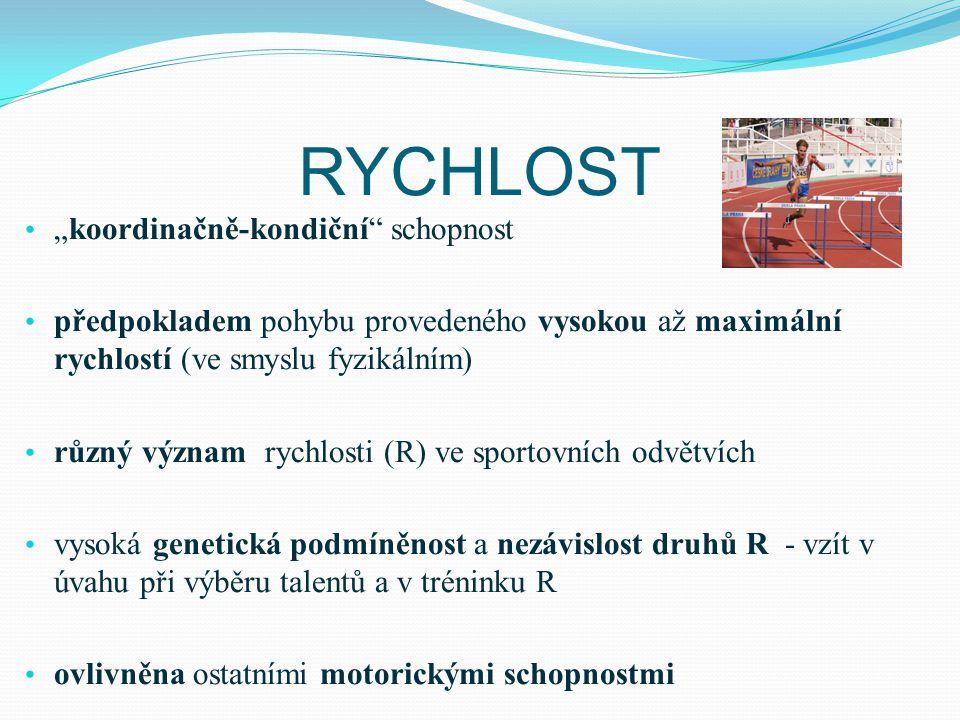 """RYCHLOST """"koordinačně-kondiční"""" schopnost předpokladem pohybu provedeného vysokou až maximální rychlostí (ve smyslu fyzikálním) různý význam rychlosti"""