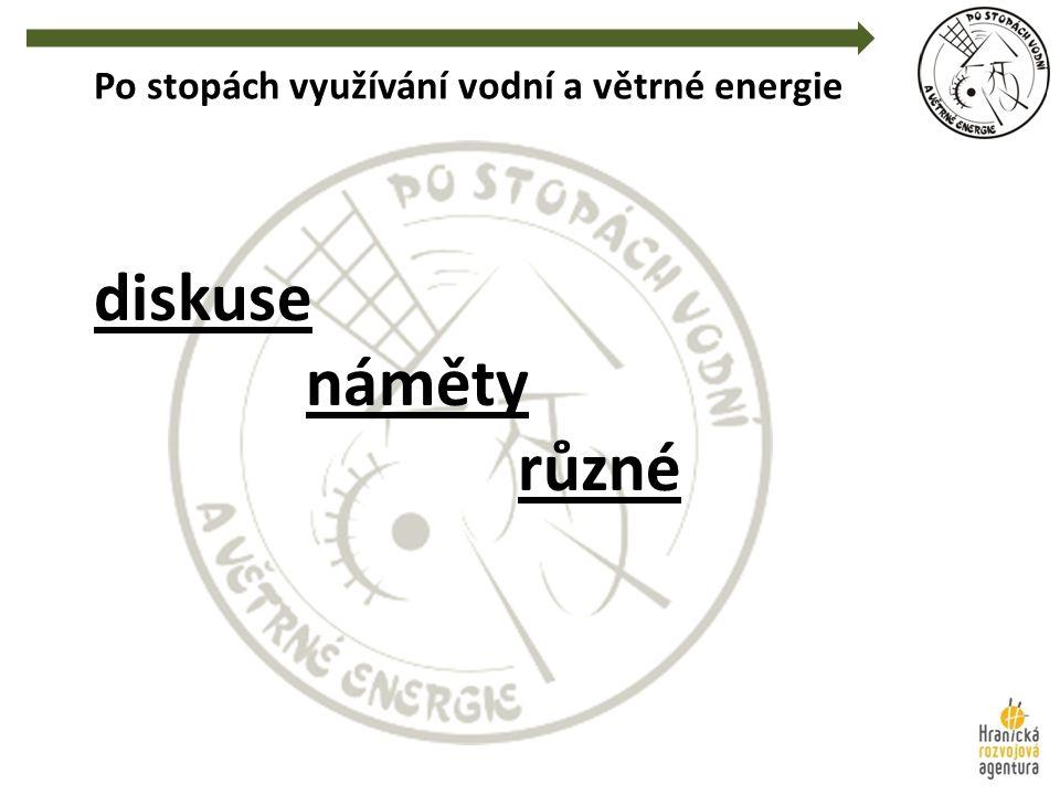Po stopách využívání vodní a větrné energie diskuse náměty různé