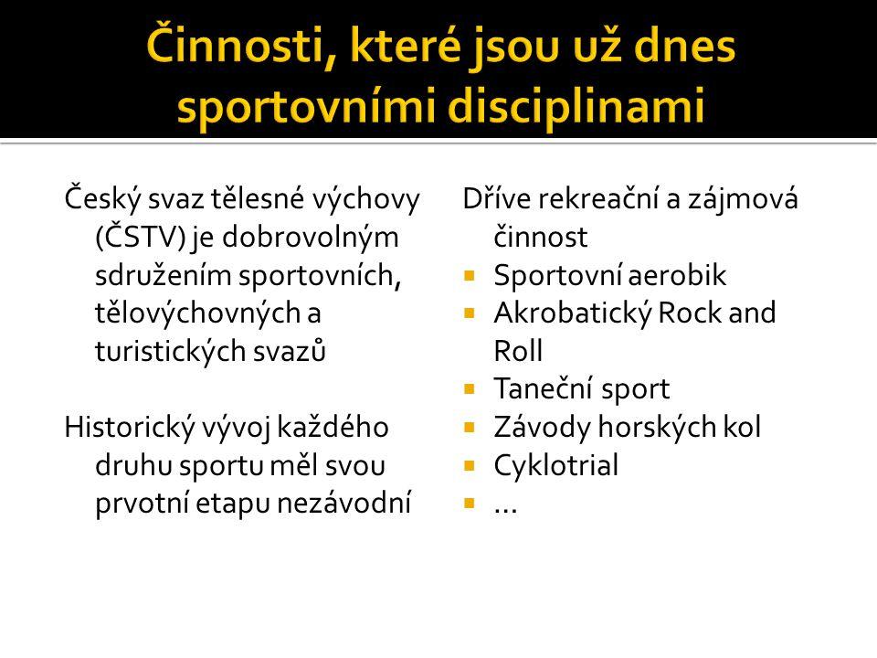 Český svaz tělesné výchovy (ČSTV) je dobrovolným sdružením sportovních, tělovýchovných a turistických svazů Historický vývoj každého druhu sportu měl svou prvotní etapu nezávodní Dříve rekreační a zájmová činnost  Sportovní aerobik  Akrobatický Rock and Roll  Taneční sport  Závody horských kol  Cyklotrial ……
