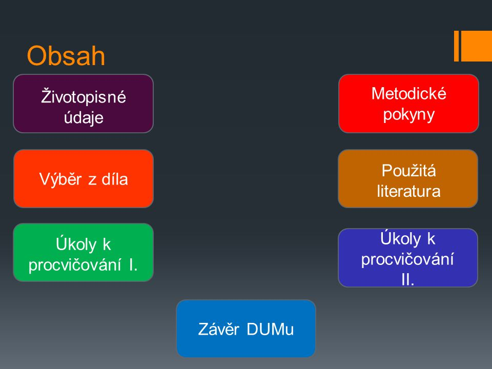 Obsah Životopisné údaje Výběr z díla Úkoly k procvičování I.