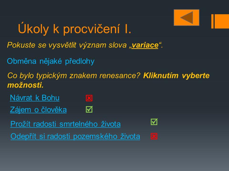 Úkoly k procvičení II.
