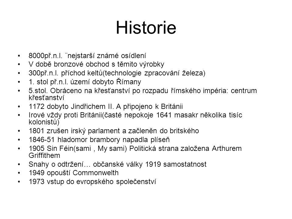 Historie 8000př.n.l. ¨nejstarší známé osídlení V době bronzové obchod s těmito výrobky 300př.n.l. příchod keltů(technologie zpracování železa) 1. stol