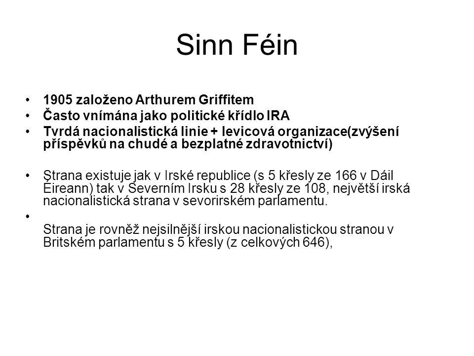 Sinn Féin 1905 založeno Arthurem Griffitem Často vnímána jako politické křídlo IRA Tvrdá nacionalistická linie + levicová organizace(zvýšení příspěvků
