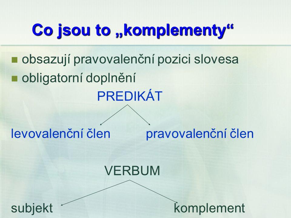 """Co jsou to """"komplementy obsazují pravovalenční pozici slovesa obligatorní doplnění PREDIKÁT levovalenční člen pravovalenční člen VERBUM subjekt komplement"""