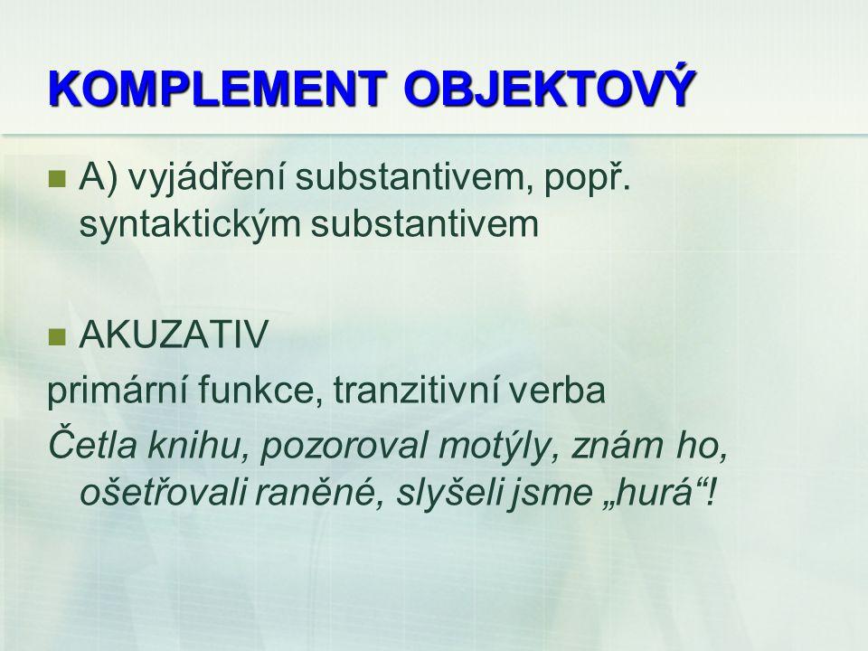 KOMPLEMENT OBJEKTOVÝ A) vyjádření substantivem, popř.