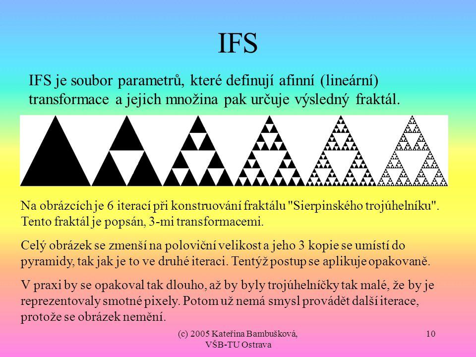 (c) 2005 Kateřina Bambušková, VŠB-TU Ostrava 10 IFS IFS je soubor parametrů, které definují afinní (lineární) transformace a jejich množina pak určuje