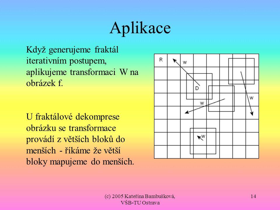 (c) 2005 Kateřina Bambušková, VŠB-TU Ostrava 14 Aplikace Když generujeme fraktál iterativním postupem, aplikujeme transformaci W na obrázek f. U frakt