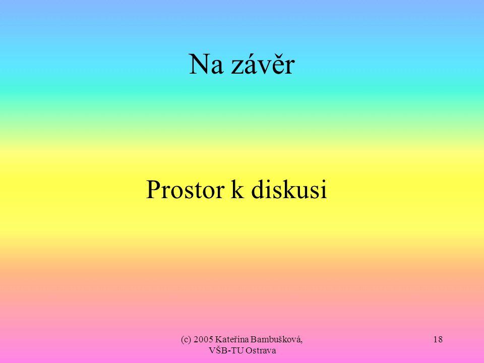 (c) 2005 Kateřina Bambušková, VŠB-TU Ostrava 18 Na závěr Prostor k diskusi