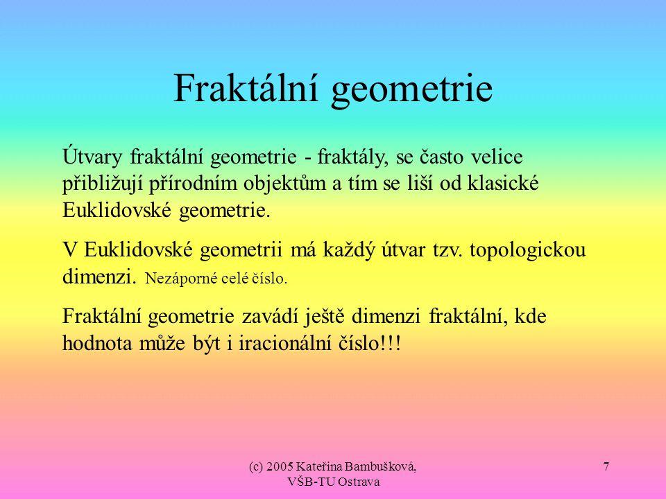 (c) 2005 Kateřina Bambušková, VŠB-TU Ostrava 8 Fraktální geometrie Fraktál je nekonečně složitý, ačkoliv jeho popis je konečný (většinou rovnice nebo soustava rovnic či transformační matice).