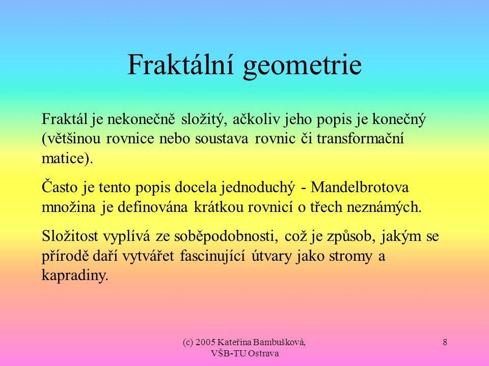 (c) 2005 Kateřina Bambušková, VŠB-TU Ostrava 8 Fraktální geometrie Fraktál je nekonečně složitý, ačkoliv jeho popis je konečný (většinou rovnice nebo