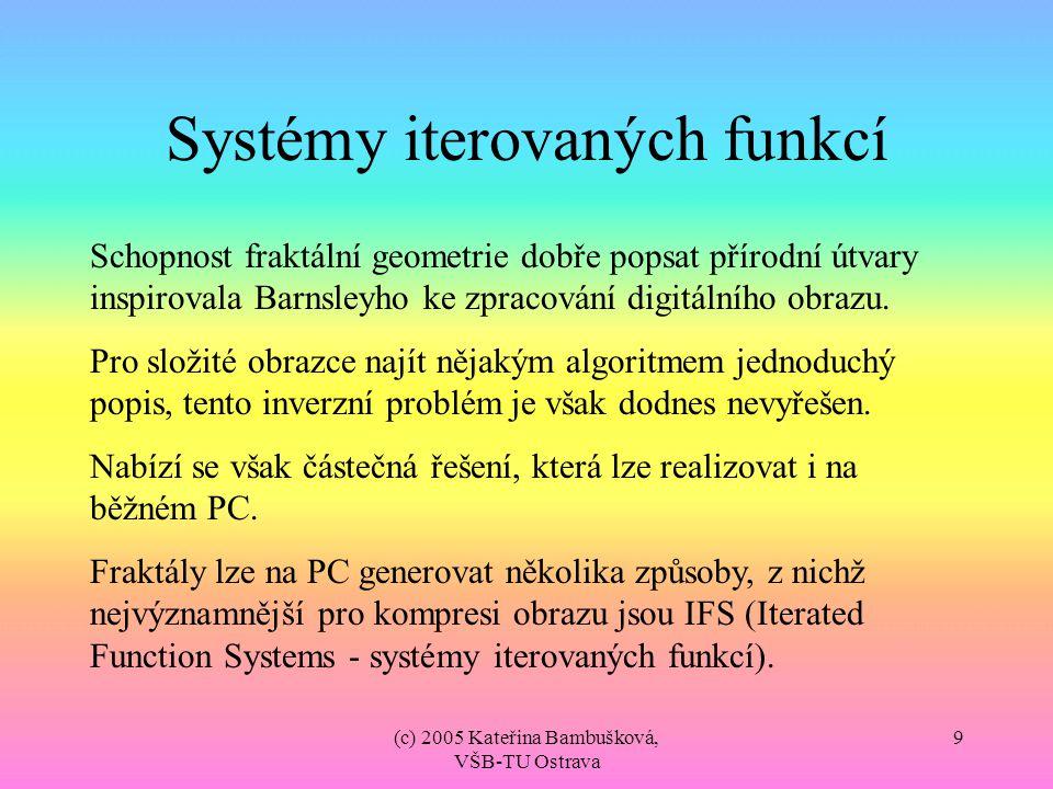 (c) 2005 Kateřina Bambušková, VŠB-TU Ostrava 9 Systémy iterovaných funkcí Schopnost fraktální geometrie dobře popsat přírodní útvary inspirovala Barns