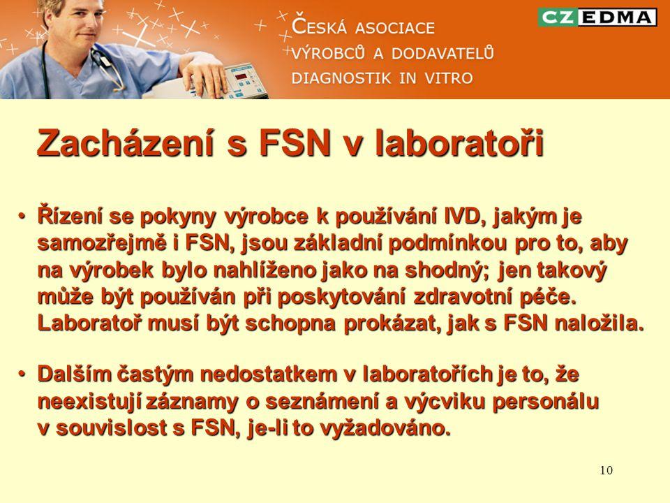 10 Zacházení s FSN v laboratoři Řízení se pokyny výrobce k používání IVD, jakým je samozřejmě i FSN, jsou základní podmínkou pro to, aby na výrobek by