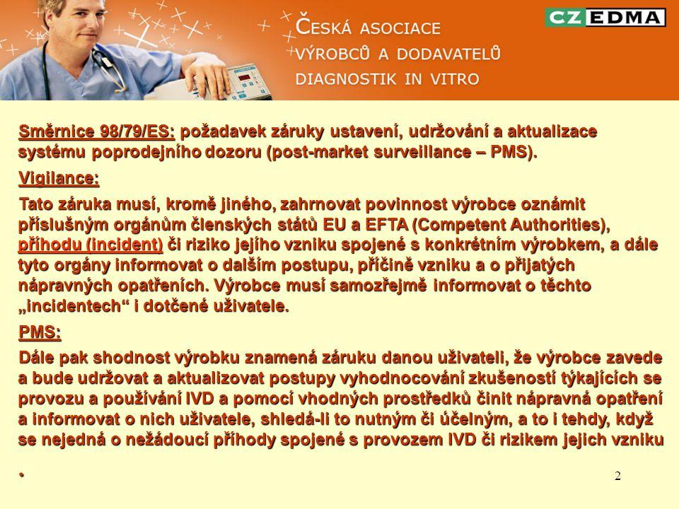 2 Směrnice 98/79/ES: požadavek záruky ustavení, udržování a aktualizace systému poprodejního dozoru (post-market surveillance – PMS). Vigilance: Tato
