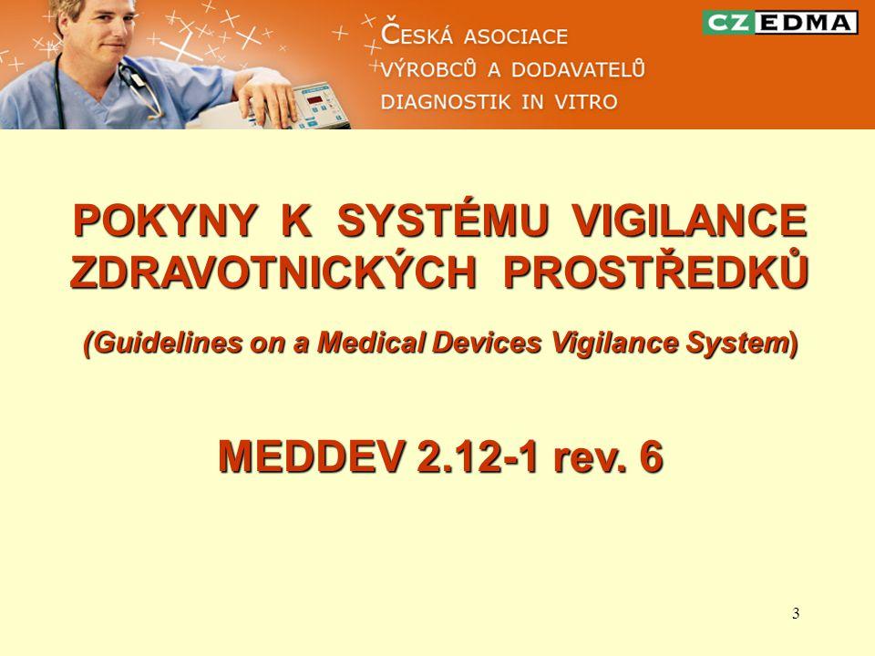 3 POKYNY K SYSTÉMU VIGILANCE ZDRAVOTNICKÝCH PROSTŘEDKŮ (Guidelines on a Medical Devices Vigilance System) MEDDEV 2.12-1 rev. 6