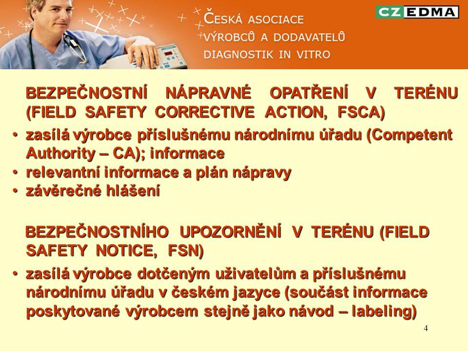 4 BEZPEČNOSTNÍ NÁPRAVNÉ OPATŘENÍ V TERÉNU (FIELD SAFETY CORRECTIVE ACTION, FSCA) BEZPEČNOSTNÍ NÁPRAVNÉ OPATŘENÍ V TERÉNU (FIELD SAFETY CORRECTIVE ACTI