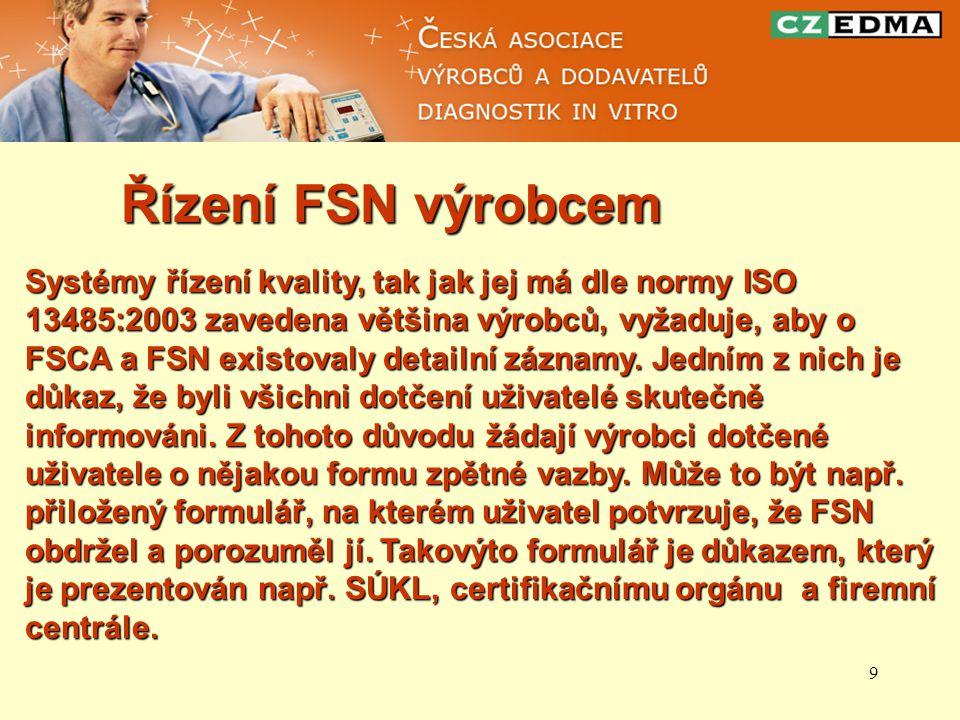 9 Řízení FSN výrobcem Systémy řízení kvality, tak jak jej má dle normy ISO 13485:2003 zavedena většina výrobců, vyžaduje, aby o FSCA a FSN existovaly