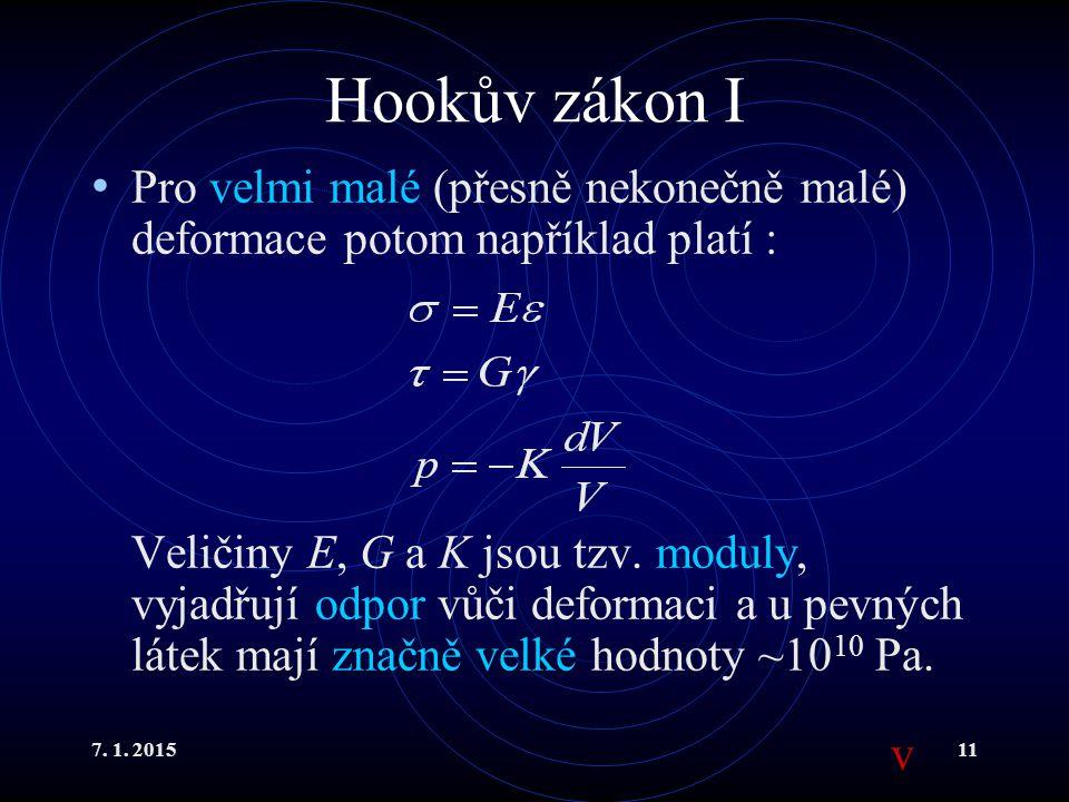 7. 1. 201511 Hookův zákon I Pro velmi malé (přesně nekonečně malé) deformace potom například platí : Veličiny E, G a K jsou tzv. moduly, vyjadřují odp