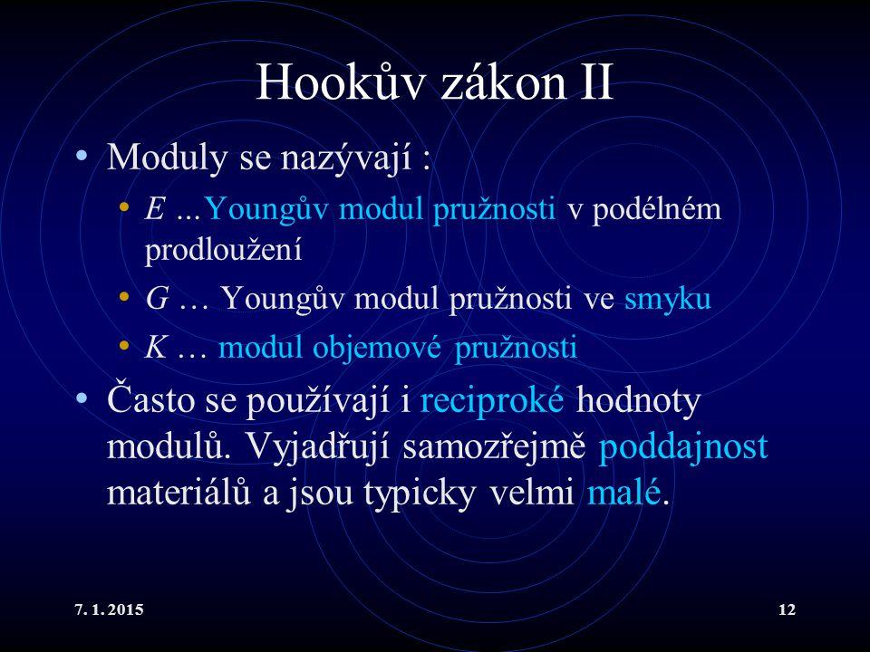 7. 1. 201512 Hookův zákon II Moduly se nazývají : E …Youngův modul pružnosti v podélném prodloužení G … Youngův modul pružnosti ve smyku K … modul obj