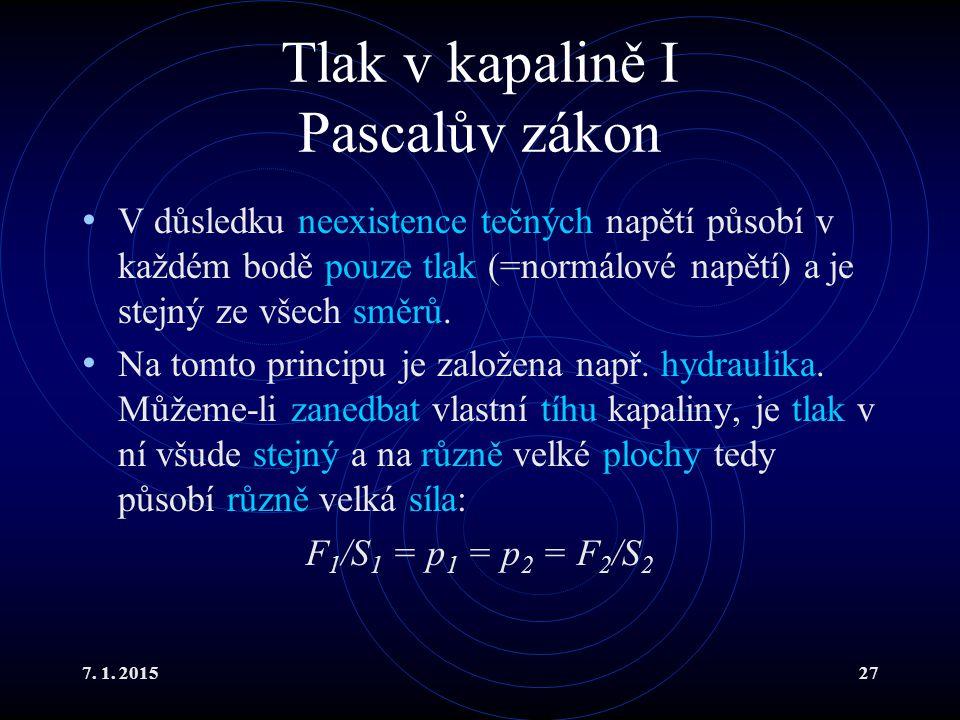 7. 1. 201527 Tlak v kapalině I Pascalův zákon V důsledku neexistence tečných napětí působí v každém bodě pouze tlak (=normálové napětí) a je stejný ze