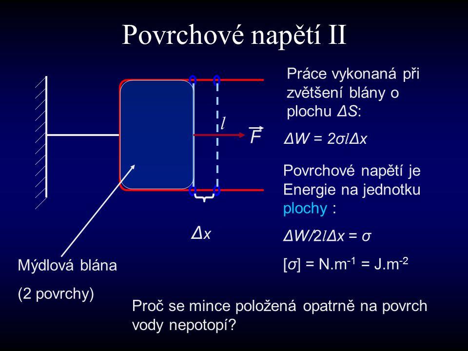 Povrchové napětí II ΔxΔx l F Práce vykonaná při zvětšení blány o plochu ΔS: Mýdlová blána (2 povrchy) Proč se mince položená opatrně na povrch vody ne
