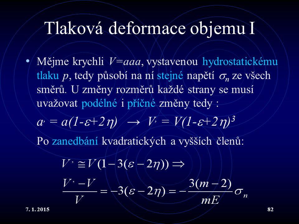 7. 1. 201582 Tlaková deformace objemu I Mějme krychli V=aaa, vystavenou hydrostatickému tlaku p, tedy působí na ní stejné napětí  n ze všech směrů. U