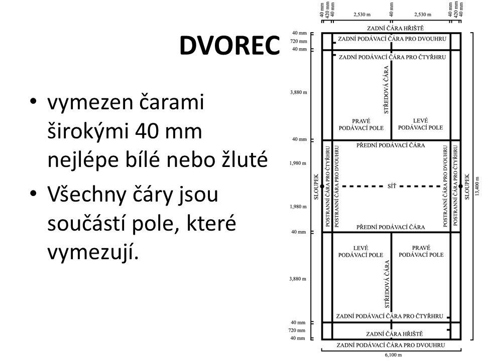 DVOREC vymezen čarami širokými 40 mm nejlépe bílé nebo žluté Všechny čáry jsou součástí pole, které vymezují.