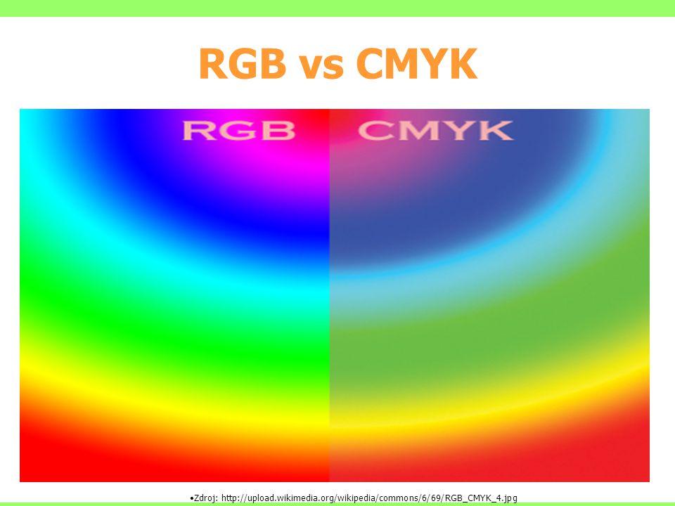 RGB vs CMYK Zdroj: http://upload.wikimedia.org/wikipedia/commons/6/69/RGB_CMYK_4.jpg