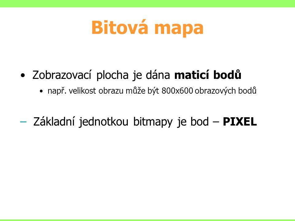 Bitová mapa Zobrazovací plocha je dána maticí bodů např. velikost obrazu může být 800x600 obrazových bodů – Základní jednotkou bitmapy je bod – PIXEL