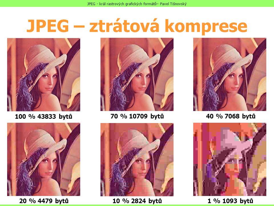 JPEG – ztrátová komprese 100 % 43833 bytů 70 % 10709 bytů40 % 7068 bytů 20 % 4479 bytů10 % 2824 bytů1 % 1093 bytů JPEG - král rastrových grafických fo