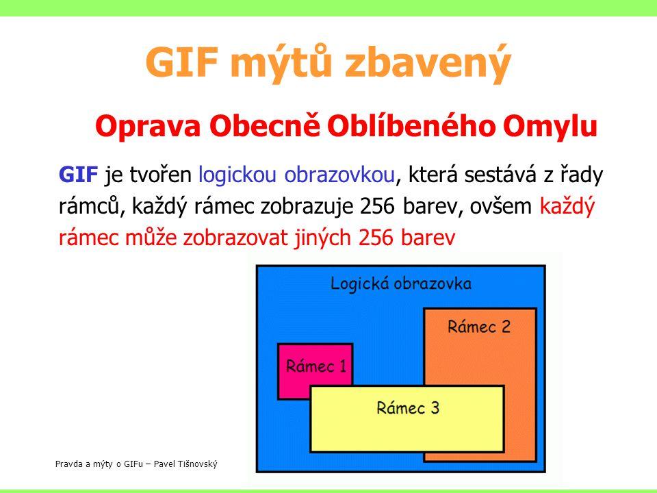 GIF mýtů zbavený Oprava Obecně Oblíbeného Omylu GIF je tvořen logickou obrazovkou, která sestává z řady rámců, každý rámec zobrazuje 256 barev, ovšem