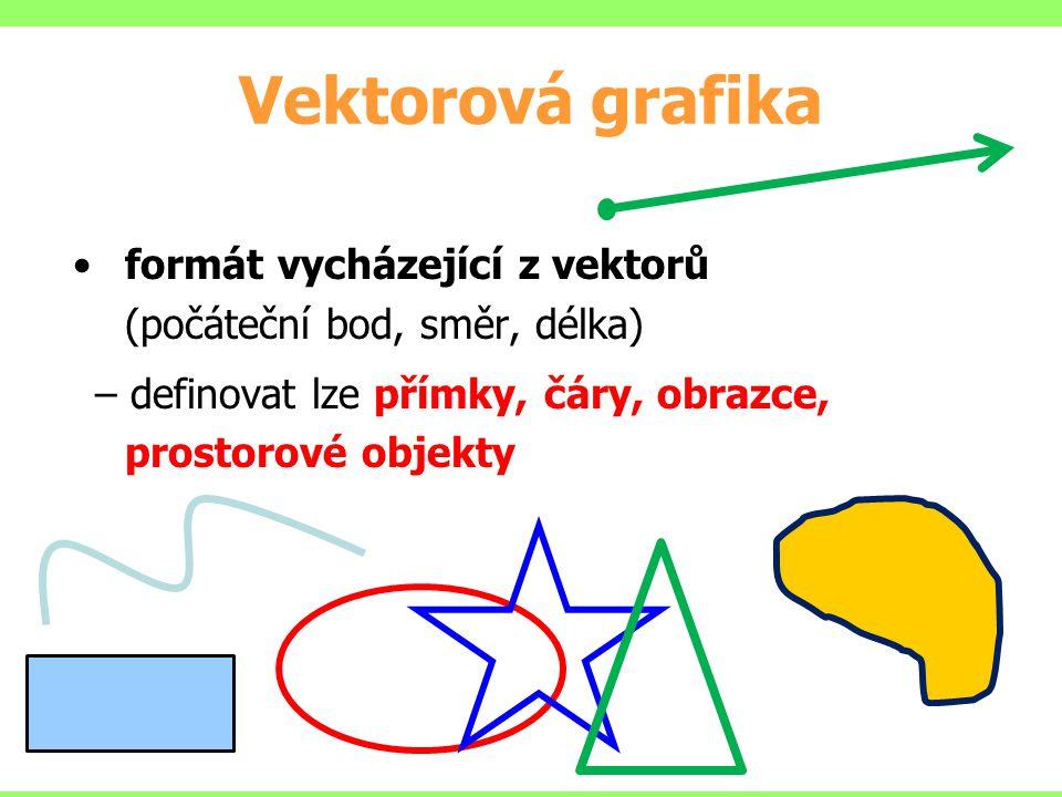 Vektorová grafika formát vycházející z vektorů (počáteční bod, směr, délka) – definovat lze přímky, čáry, obrazce, prostorové objekty