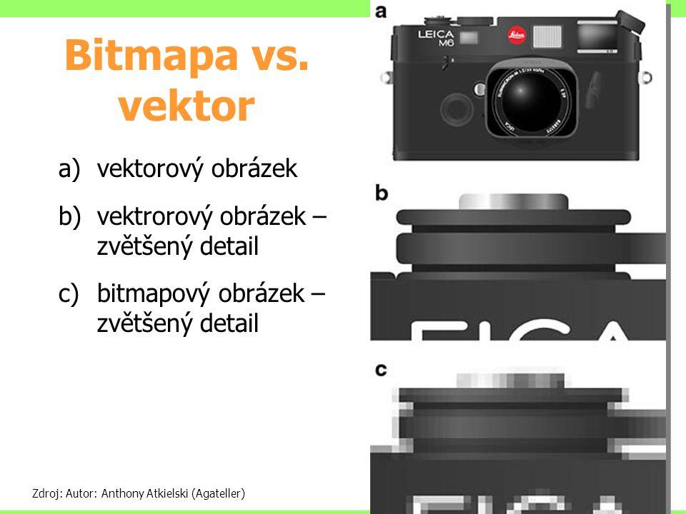 Bitmapa vs. vektor Zdroj: Autor: Anthony Atkielski (Agateller) a)vektorový obrázek b)vektrorový obrázek – zvětšený detail c)bitmapový obrázek – zvětše