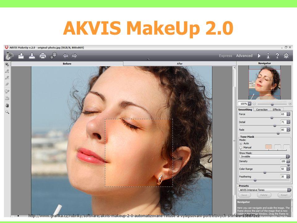 AKVIS MakeUp 2.0 http://www.grafika.cz/rubriky/software/akvis-makeup-2-0-automatizovane-retuse-a-vylepsovani-portretovych-snimku-138872cz