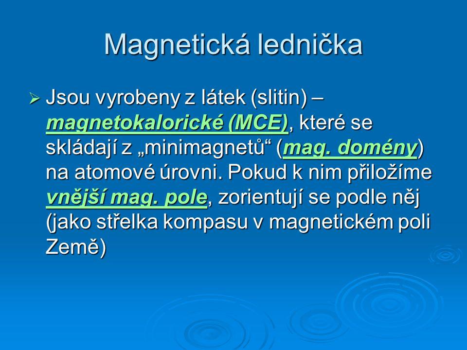 """Magnetická lednička  Jsou vyrobeny z látek (slitin) – magnetokalorické (MCE), které se skládají z """"minimagnetů"""" (mag. domény) na atomové úrovni. Poku"""