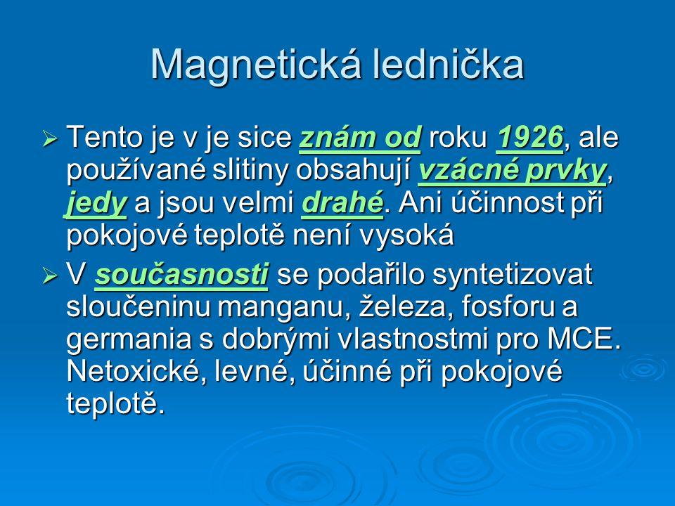 Magnetická lednička  Tento je v je sice znám od roku 1926, ale používané slitiny obsahují vzácné prvky, jedy a jsou velmi drahé. Ani účinnost při pok