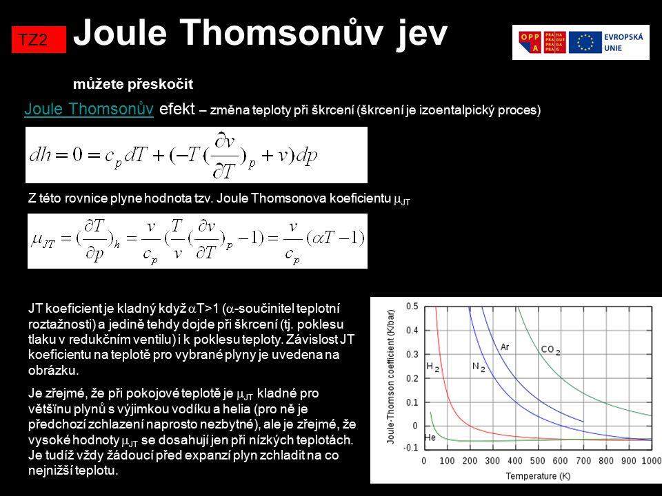 Joule Thomsonův jev můžete přeskočit TZ2 Joule ThomsonůvJoule Thomsonův efekt – změna teploty při škrcení (škrcení je izoentalpický proces) Z této rov