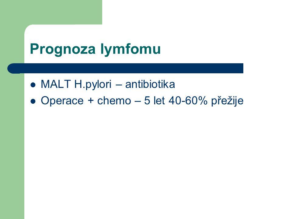 Prognoza lymfomu MALT H.pylori – antibiotika Operace + chemo – 5 let 40-60% přežije