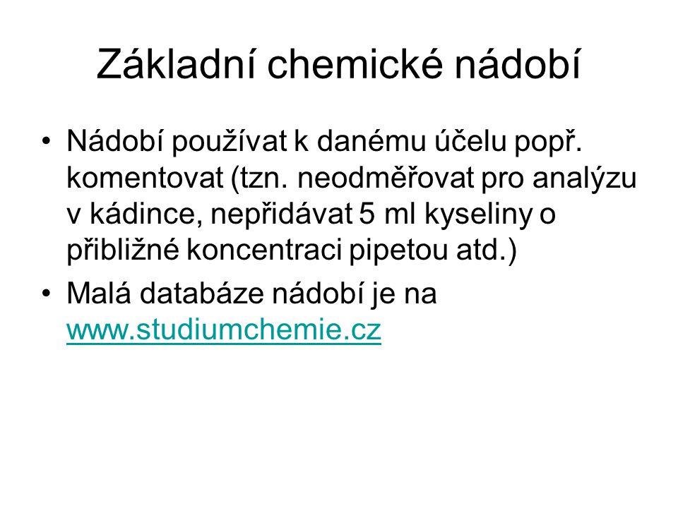 Základní chemické nádobí Nádobí používat k danému účelu popř. komentovat (tzn. neodměřovat pro analýzu v kádince, nepřidávat 5 ml kyseliny o přibližné