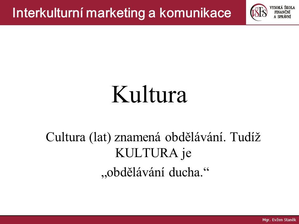 """Kultura Cultura (lat) znamená obdělávání.Tudíž KULTURA je """"obdělávání ducha. Mgr."""