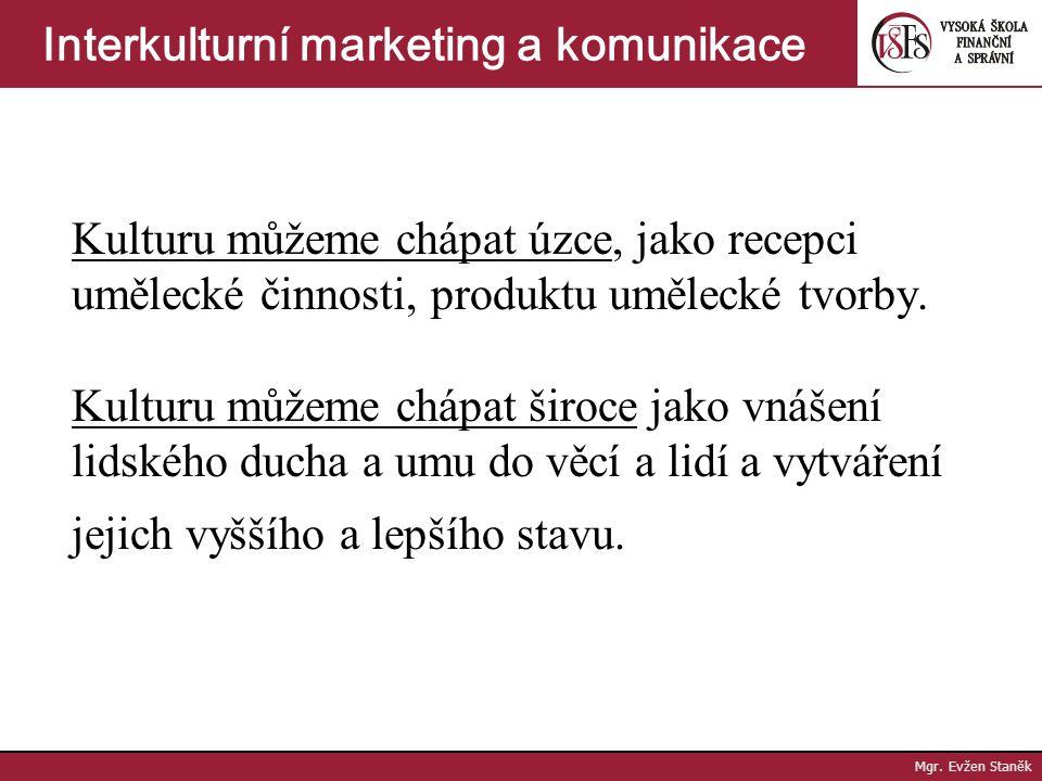 """Kultura Cultura (lat) znamená obdělávání. Tudíž KULTURA je """"obdělávání ducha."""" Mgr. Evžen Staněk Interkulturní marketing a komunikace"""