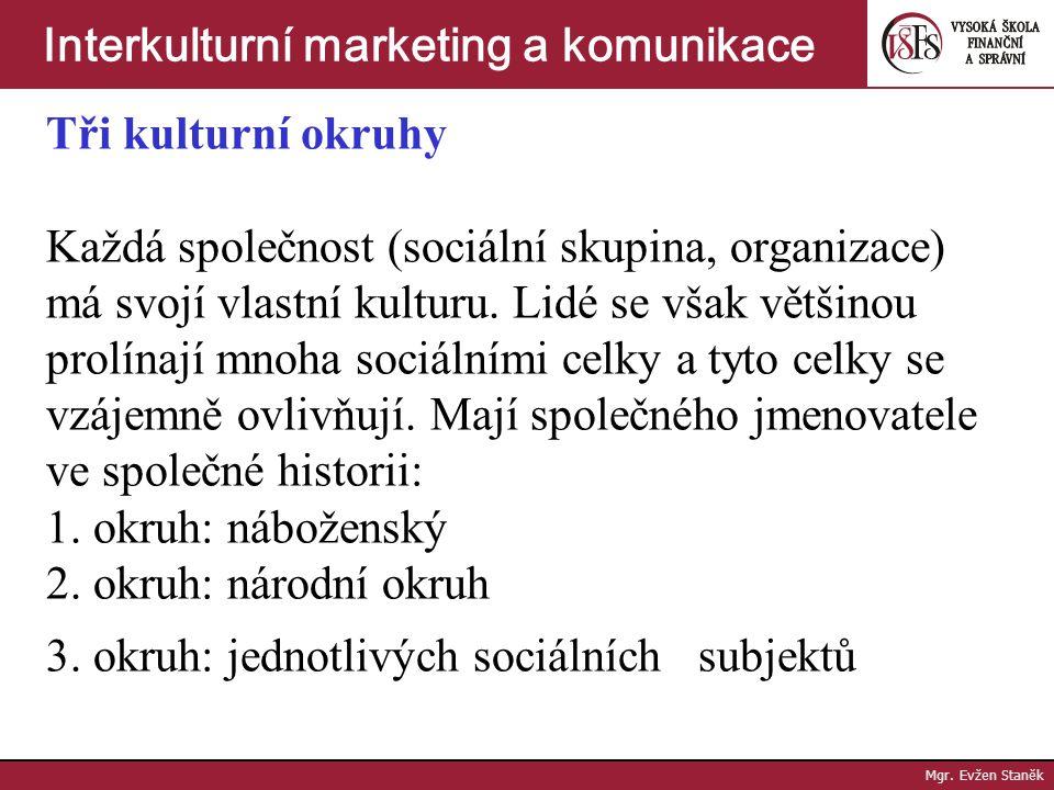 Tři kulturní okruhy Každá společnost (sociální skupina, organizace) má svojí vlastní kulturu.